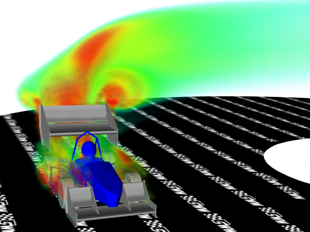 Volume Rendering of wake of car in a turning state (rotating reference frame) showing regions of high turbulent kinetic energy (TKE)