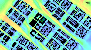 ANSYS CFD flow field over a complex urban environment