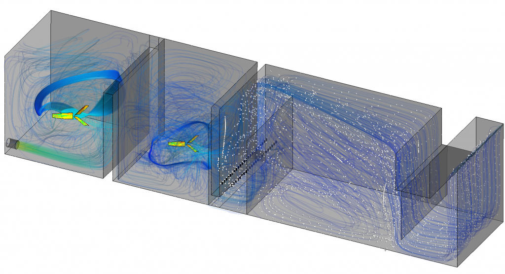 CFD simulation of a complex water treatment plant