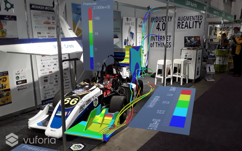 LEAP Australia stand at Austech/NMW 2017 demonstrating CFD simulation results with augmented reality