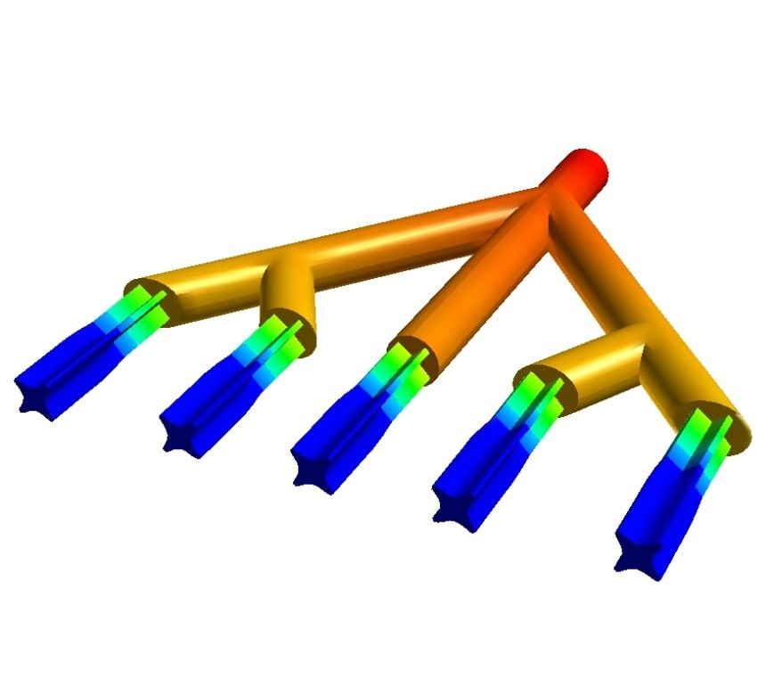 Example of the extrusion process modelled in ANSYS