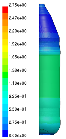 predicted wall thickness (mm) for a blow moulded glass bottle