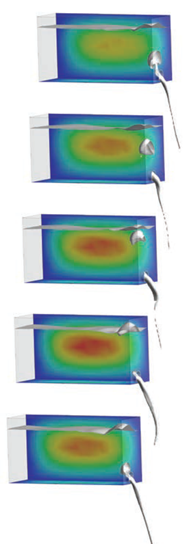 Liquid pouring from a flexible carton showing air backflow that causing the gulping behaviour