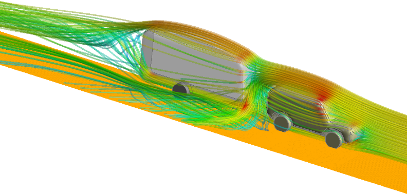 CFD flow results of Caravan drag at non-optimal heights