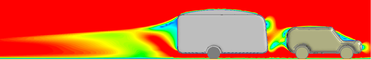 CFD air velocity results of drag on caravan