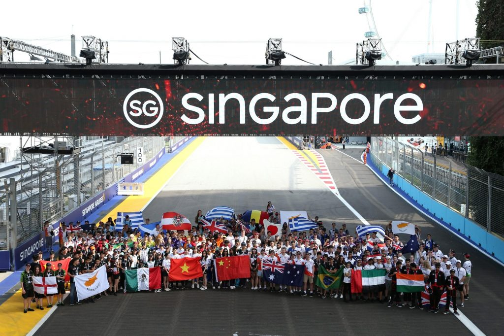 2018 F1 In Schools World finals teams at the Marina Bay Circuit